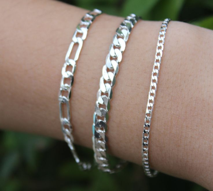 TRIPLE THREAT BRACELET Package, Three Silver Chain Stackable Bracelets by esmecollection on Etsy