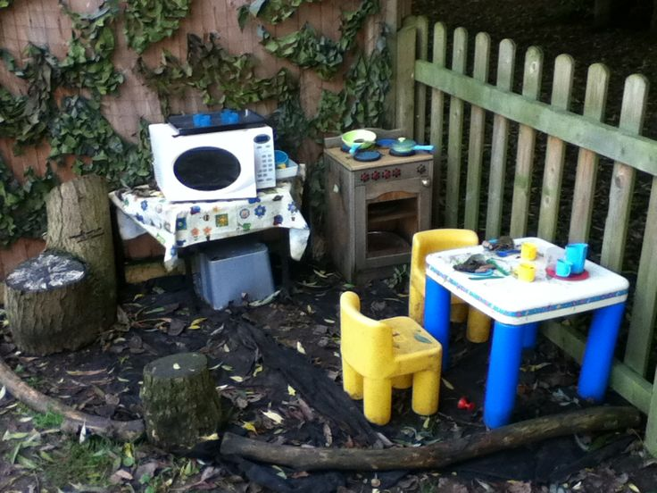The outdoor kitchen is a mixture of old indoor children's furniture, an old microwave and an assortment of children's plastic and adults real cooking utensils. The children use grass, leaves, conkers, stones, playdough and mud to re-create 'food'. This area supports all 7 areas of the EYFS