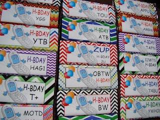 middle school birthday treats - text them!