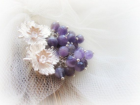 Purple amethyst cluster of grapes earrings by MalinaCapricciosa