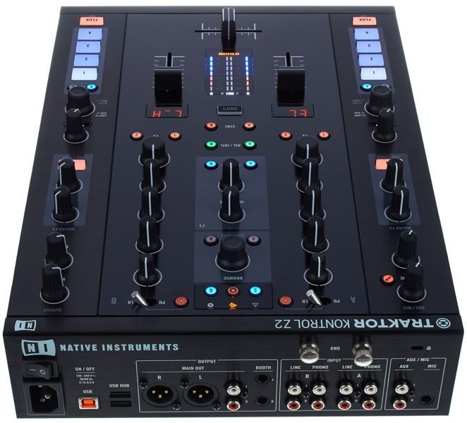 Native Instruments Traktor Kontrol Z2, 2 plus 2 channel DJ Mixer, Controller and 24 Bit USB Audiointerface, robust thomann design for tough on stage performance, ergonormic design with industrie standard layout, 3 band EQ and filter per channel, precision high end encoders and buttons with premium fader from Innofader, .... :-)