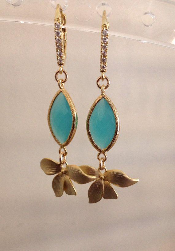 Drop earrings Mint Jewelry Orchid Jewelry Orchid by 2010louisek7, $35.00