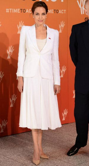 Fabulously Spotted: Angelina Jolie Wearing Michael Kors - Global Summit to End Sexual Violence in Conflict - http://www.becauseiamfabulous.com/2014/06/angelina-jolie-wearing-michael-kors-global-summit-to-end-sexual-violence-in-conflict/
