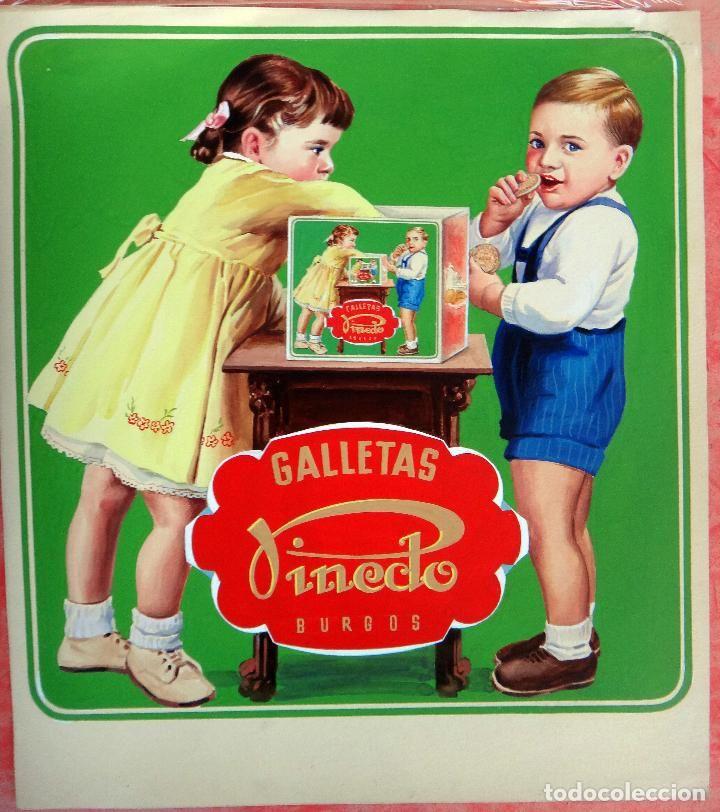 CARTEL PUBLICIDAD, PINTADO A MANO, PINTURA ORIGINAL, GALLETAS PINEDO , BURGOS - Foto 1