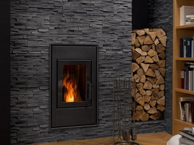 habillage de cheminée en plaquettes de parement en gris anthracite BENEVENTO par Klimex