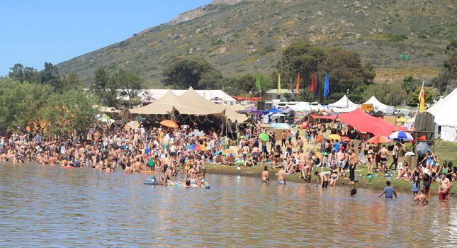 The fun beach tent at at Rocking the Daisies 2014.