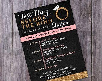 Bachelorette Weekend invitation with itinerary bachelorette