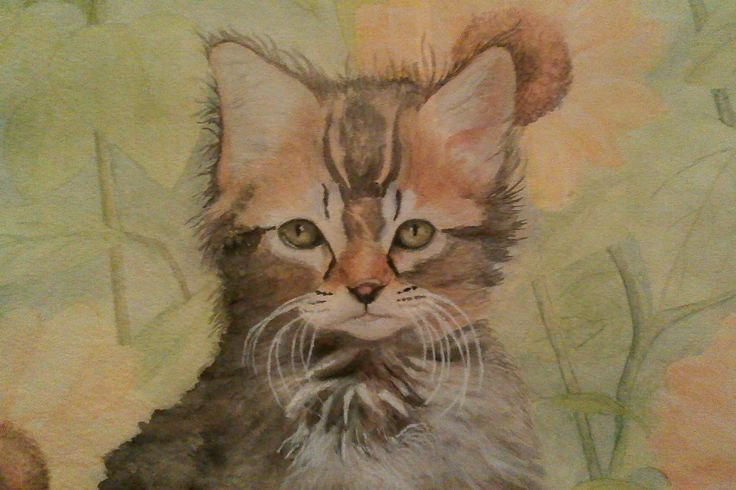 Kitten, watercolor on hand made paper