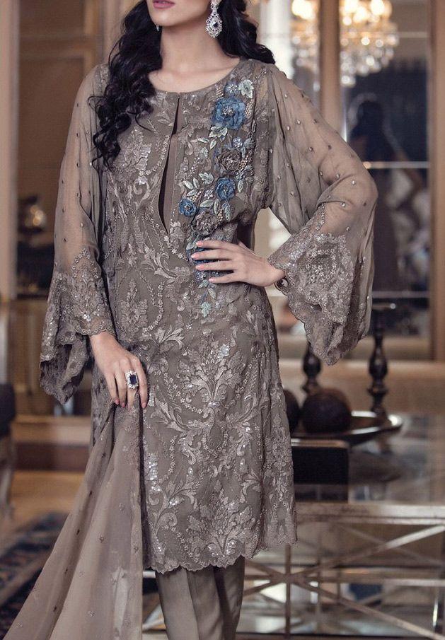 Buy Dark Grey Embroidered Chiffon Dress by Maria B. 2016