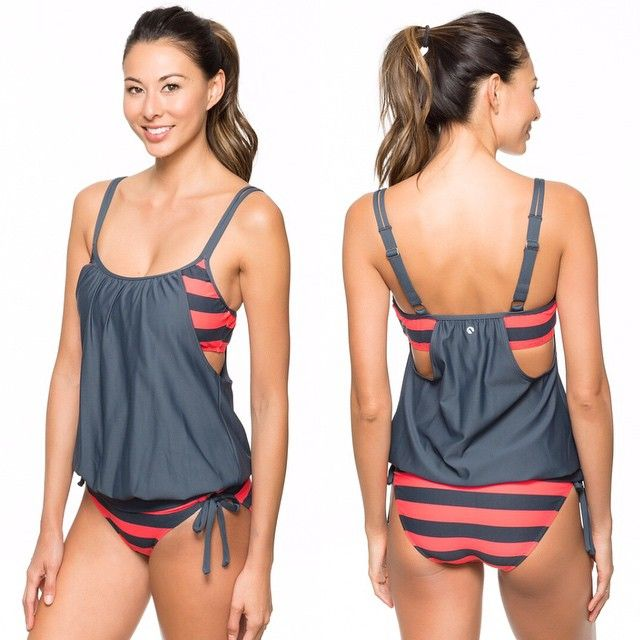 @nextswimwear Lined Up Double Up Tankini // Perfect swimsuit for post-baby bods!