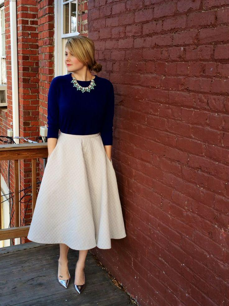 Use topshop midi skirt, pastel blouse, coral orange necklace