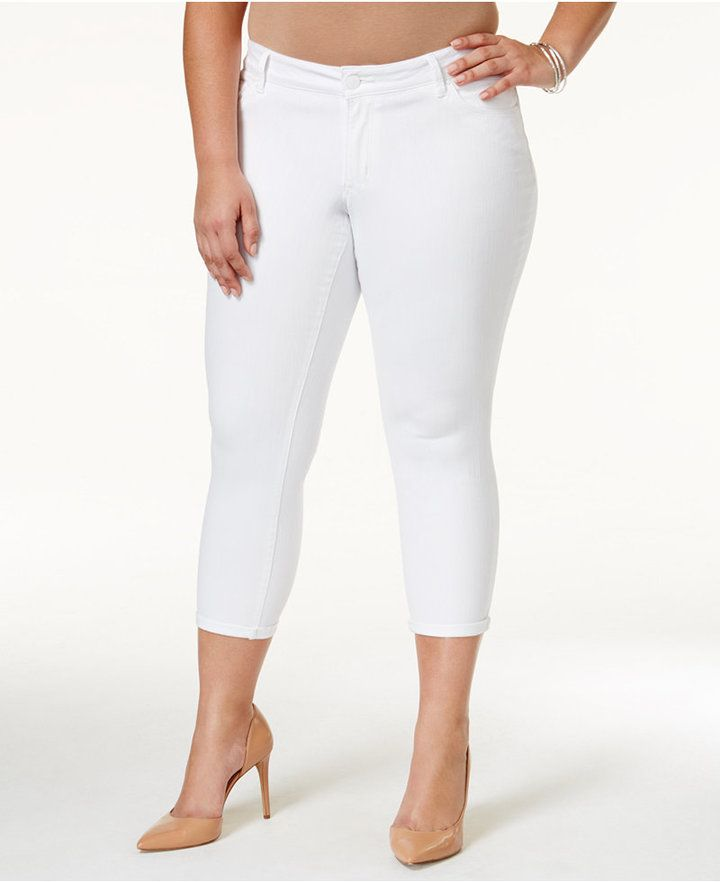 Jessica Simpson Plus Size White Wash Cropped Skinny Jeans   Plus ...