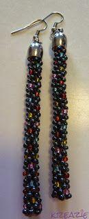 Kumihimo with beads earring