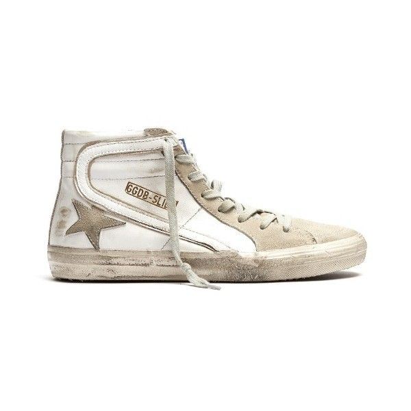 Golden Goose Deluxe Brand Slide high-top leather trainers ($495) ❤ liked on Polyvore featuring shoes, sneakers, white, white leather high tops, white shoes, white leather shoes, hi tops and leather high top sneakers