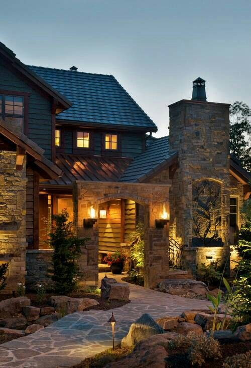 Front entry to rustic home