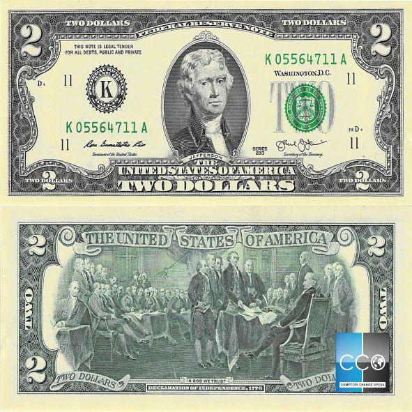 Ce billet de 2 dollars US est très peu en circulation, il est plutôt un billet de collection. Le recto du billet est à l'effigie de l'ancien président américain Thomas Jefferson.