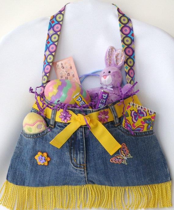 Little Girls Blue Jean Purse with Orange Yellow & by PrissyPockets, $25.00