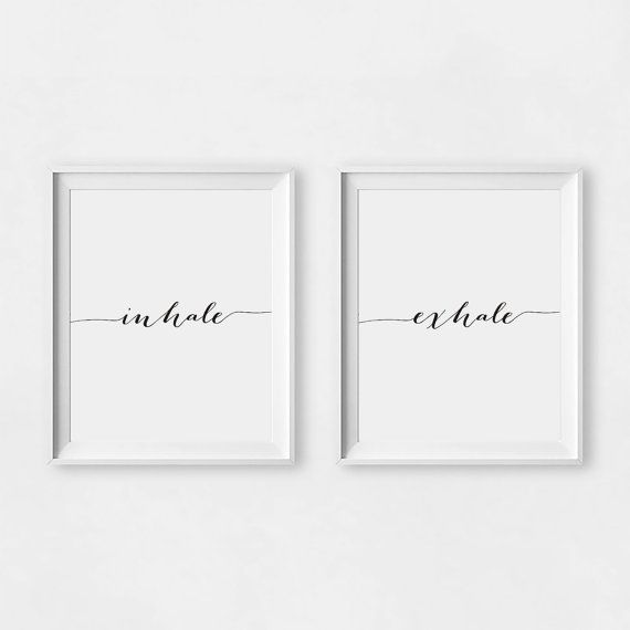 Inhale Exhale Print Minimalist Typography Art Yoga Wall Art by GreenLifePrints | Etsy
