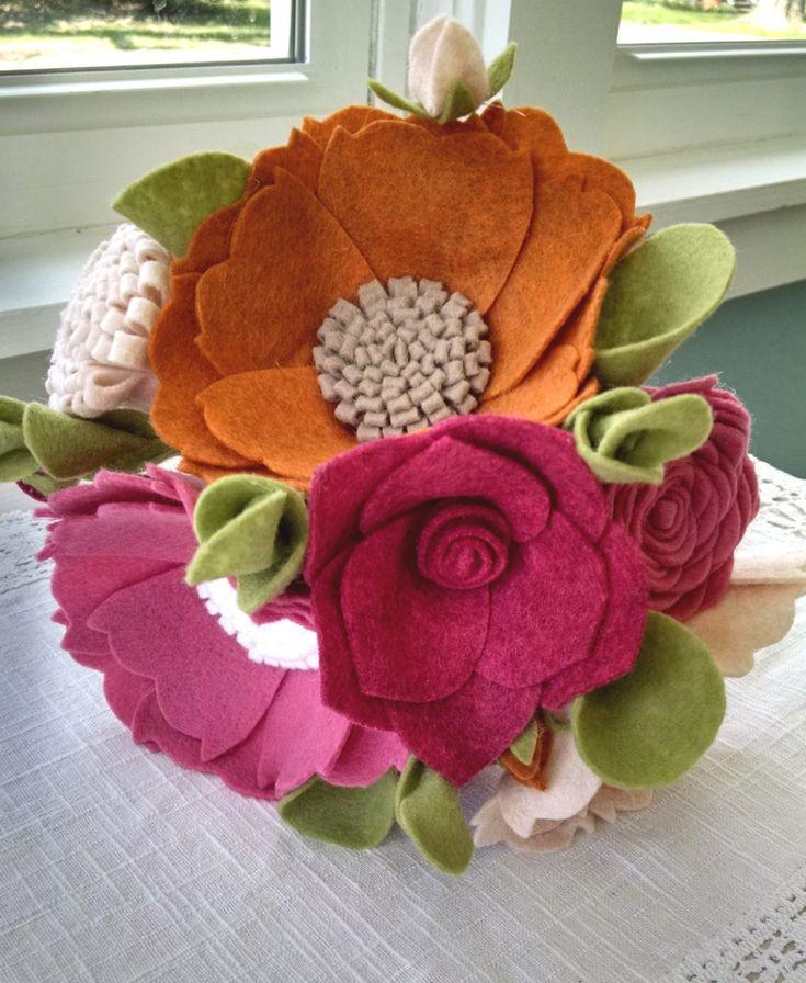 Ramo de novia fieltro de las lanas ramo de flores por madymae