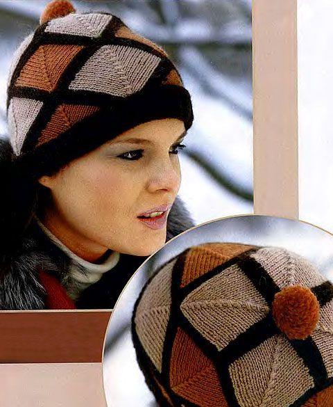 Оригинальная шапочка, спицами