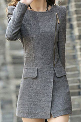 Trendy Style Turn-Down Collar Solid Color Long Sleeve Worsted Women's CoatCoats | RoseGal.com