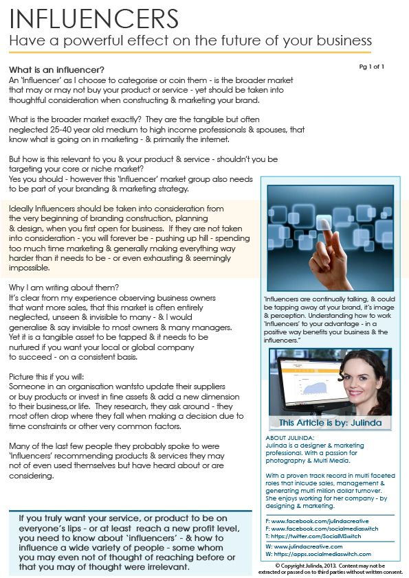 ARTICLE: Influencers have a power effect in business.  Click image to enlarge (pdf).