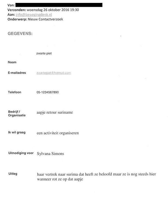 Dit zijn de dreigmails aan Sylvana Simons | Nieuws | AD.nl