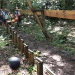 A mesmerizing pendulum wave demonstration with 16 bowling balls in a North Carolina forest. If you've ever been to a science museum or taken a physics class, you've probably encountered an example of a pendulum wave. This video shows a large-scale pendulum wave contraption built on private property in the mountains of North Carolina, near Burnsville