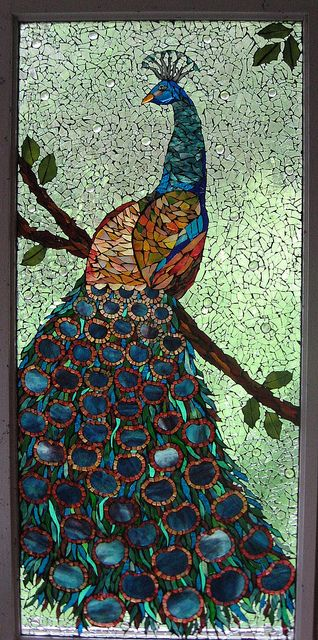Mosaic peacock made with stained glass