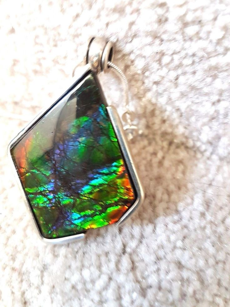 Breathtaking Rainbow canada ammolite pendant Brilliant Multicolor  925 silver by jurrasicRockShop on Etsy