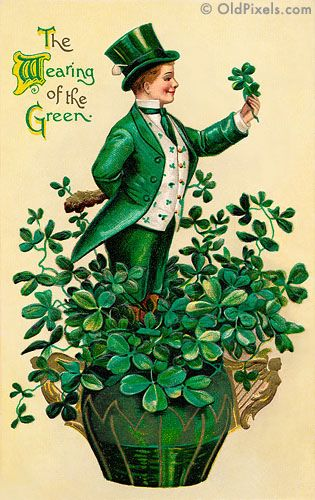 A 1910 vintage St. Patrick's Day greeting card illustration of an Irish man showing 'The Wearing of the Green'. This image is part of a collection of 12 Vintage St Patrick Art images -- all digitally restored and available as prints or hi-res downloads.
