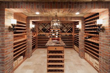 """emperature controlled wine cellar feature brick and stone walls and ceiling and custom mahogany wine racks"""" """"Simple, change brick to different or stone though."""" """"use stone for columns"""" """"beige stone floor...stone ceiling"""" """"Shelving style and space for boxes"""" — bethannharvey"""