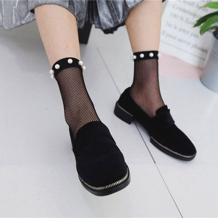 Women's Fashion Spring Summer Breathable Sexy Pearl Lace Fishnet Ankle High Socks Mesh Fish Net Short Socks Hot