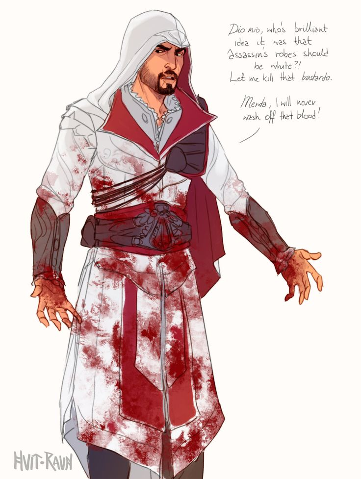 "hvit-ravn: "" Like, after the assassination, he is quietly leaving That's why his next assassin robes aren't white. """