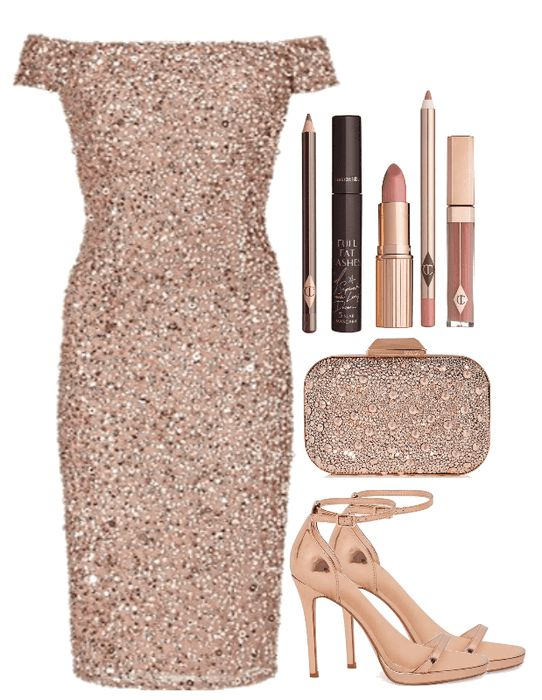 Sparkle New Year!  #newyear #nye #nyeparty #newyearparty #party #dress #bodycon #sequin #sequined #sequindress #sparkledress #sprakle #sparkleclutch #clutch #champagne #heels #sandals #polyvore Shoplook #holiday #holidayparty