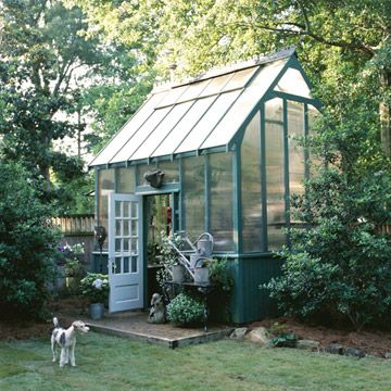 Backyard Greenhouse-love this. 10 by 12, brick paved floor