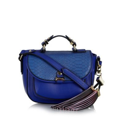 Butterfly by Matthew Williamson Designer bright blue snake flapover satchel bag- at Debenhams.com