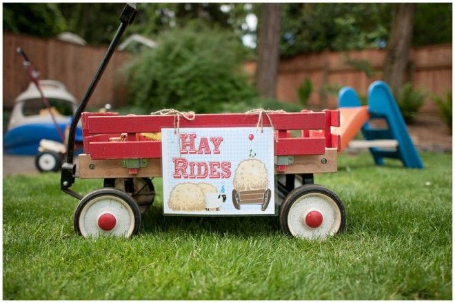 For Charlotte's Farm Birthday Party - wish we had a wagon to do this - so cute