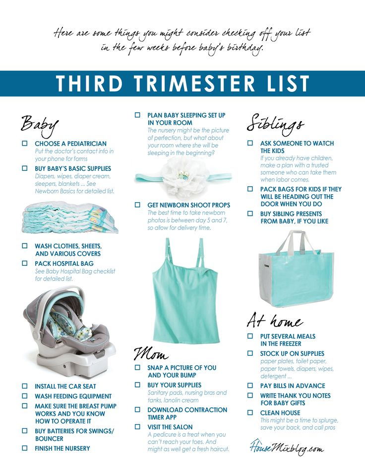 preparing for baby third trimester checklist printable - Baby Room Checklist