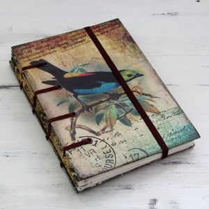 NOVICA Rustic Bird Theme Journal of Handcrafted Paper