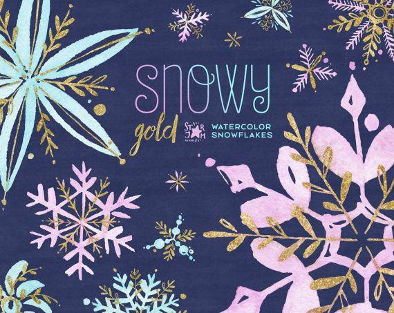 Oro cubierto de nieve. Clipart invierno acuarela copos de