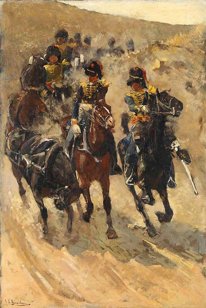 George Hendrik Breitner - In volle vaart komt een groep soldaten te paard het duin afstormen, recht op de beschouwer af. De schilder  heeft de militaire oefening heel overtuigend weergegeven, met een grove, vlotte penseelstreek.