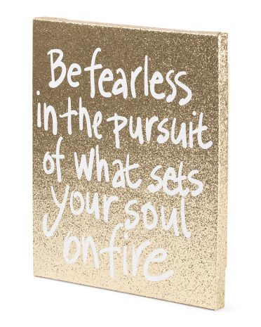 Be Fearless Gold Glitter Canvas - Early Access - T.J.Maxx …