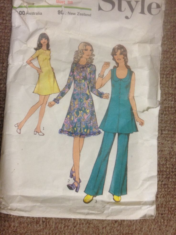 Style 3697, Misses dress or tunic and trousers, Sz 16 (38), 1972
