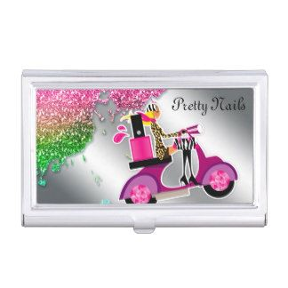 Nail Salon Cosmetologist Cosmetology Scooter Girl Business Card Case