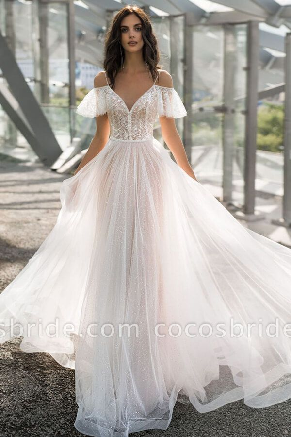 Glorious Cold Shoulder Chapel Train Wedding Dress In 2020 Cold Shoulder Wedding Dress Ball Gowns Wedding Wedding Dress Train