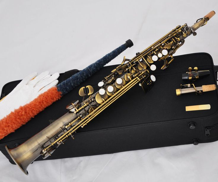 Sale Quality Antique Straight Soprano Saxophone Sax High F# G 2 Neck With Case