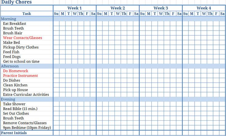 free templates chore charts | Download this Printable Blank Childrens Chore Chart to keep track of ...