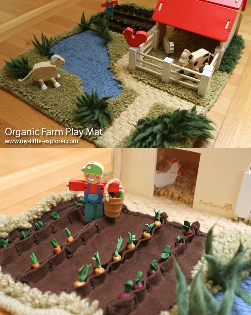 A farm play mat made of organic yarn and fabric, and complete with miniature vegetables!