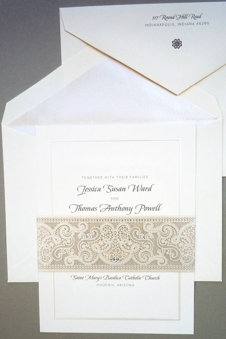 box wedding invitations online%0A Lace wrapped invitation cut out of a champagne shimmer stock